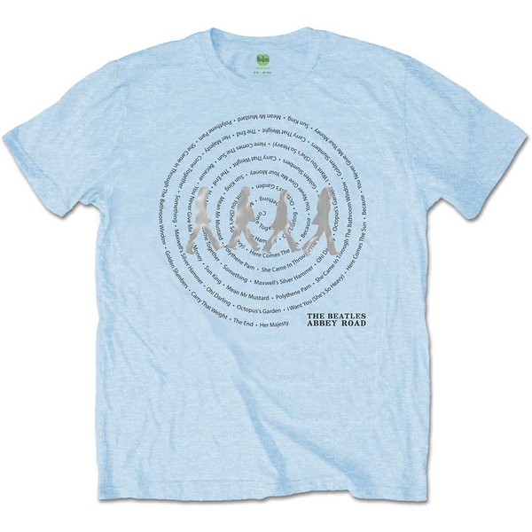 The Beatles - Abbey Road Songs Swirl Unisex X-Large T-Shirt - Blue