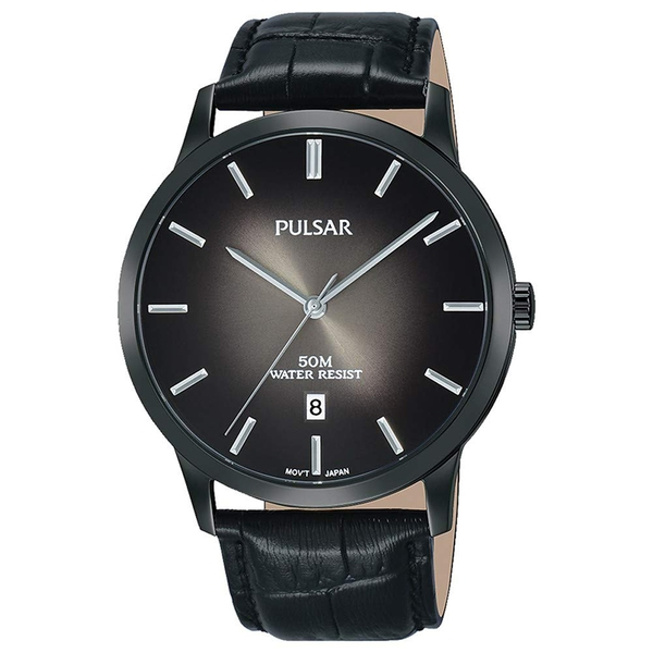 Pulsar PS9535X1 Mens Black Classic Leather Strap Black Ip Case 50M Watch