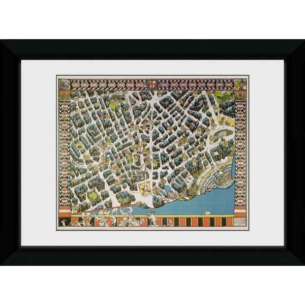 Transport For London Stylised Map 50 x 70 Framed Collector Print
