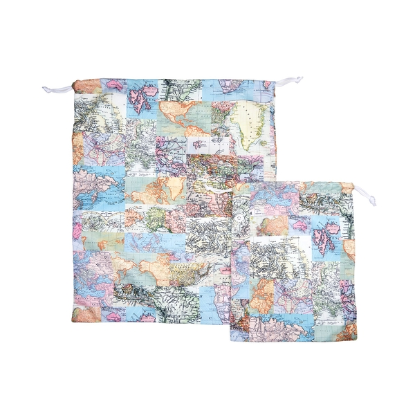 Sass & Belle Vintage Map Travel Laundry (Set of 2) Bags
