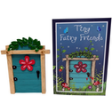 Turquiose Fairy Door With Red Flower
