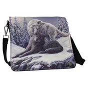 Snow Kisses Wolf Embossed Shoulder Bag