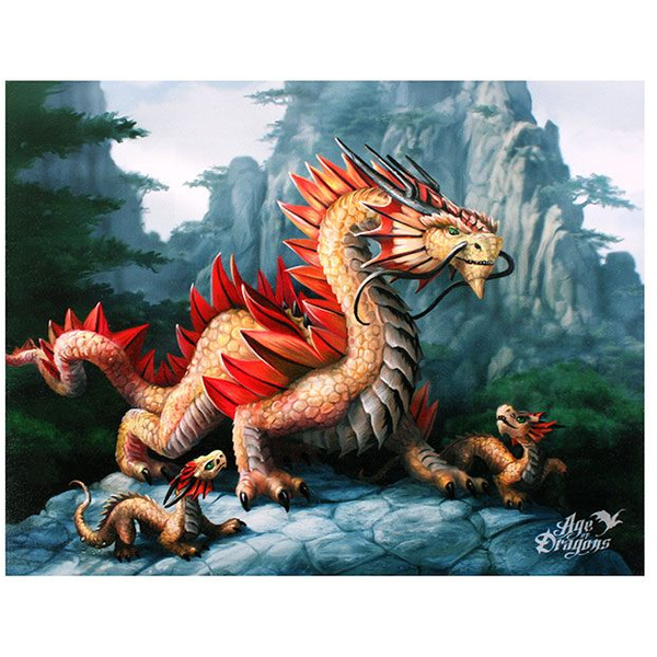 Small Golden Mountain Dragon Canvas Picture by Anne Stokes