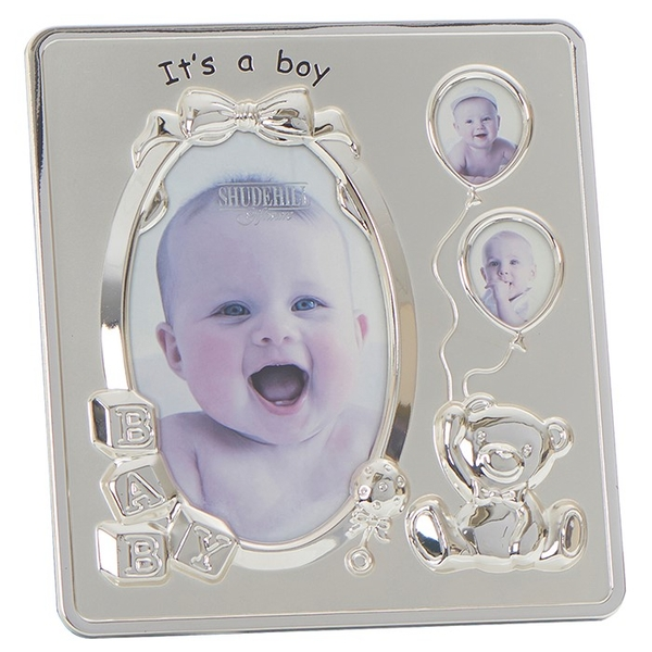 Satin Silver It's a Boy Frame 3 Pictures
