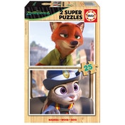 Disney Zootropolis 2 Super Nick Wilde & Officer Judy Hopps 25 Pieces Wooden Jigsaw Puzzles