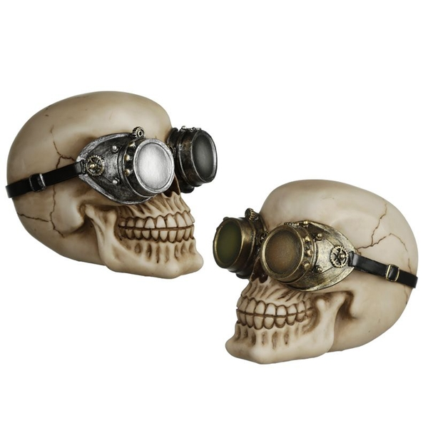 Steampunk Style Skull Ornament with Goggles