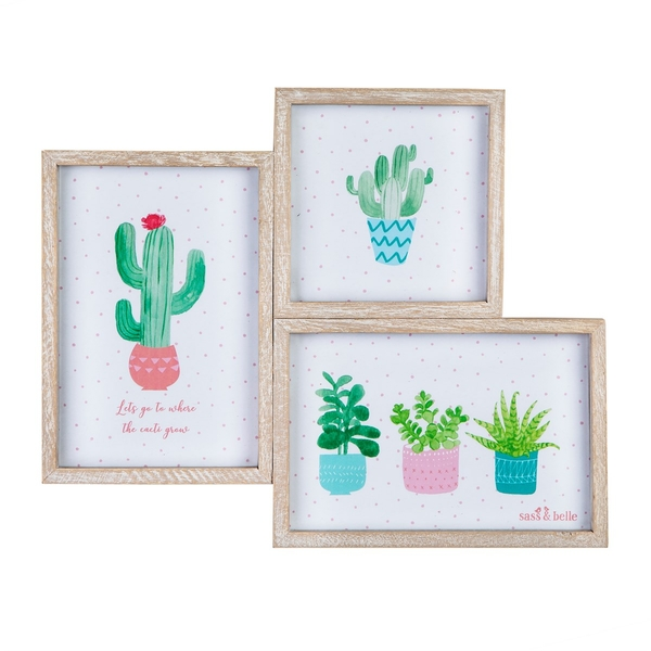 Sass & Belle Three Pastel Cactus Wooden Multi Photo Frame
