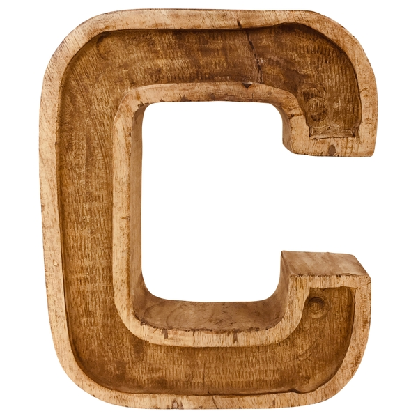 Letter C Hand Carved Wooden Embossed