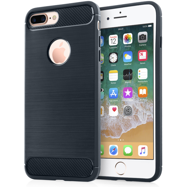 Compare prices with Phone Retailers Comaprison to buy a Apple iPhone 8 Plus Carbon Fibre Textured Gel Cover - Blue