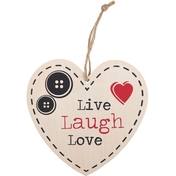 Live, Love, Laugh Hanging Heart Sign