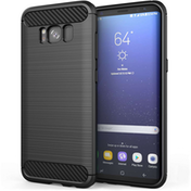 Samsung Galaxy S8 Plus Carbon Fibre TPU Case Silicone Cover - Black