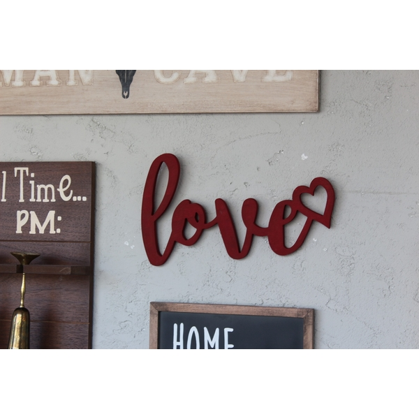 Red Love Red Decorative Wooden Wall Accessory