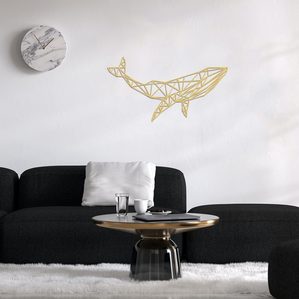 Whale 1 - Gold Gold Decorative Metal Wall Accessory