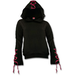 Gothic Elegance Red Ribbon Gothic Women's X-Large Hoodie - Black - Image 2
