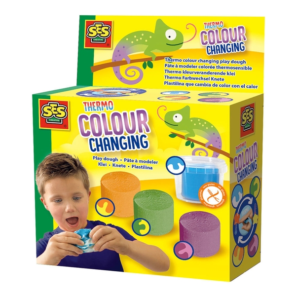SES Creative Children's Thermo Colour Changing Play Dough Set 4 Play Dough Pots (Multi-colour)