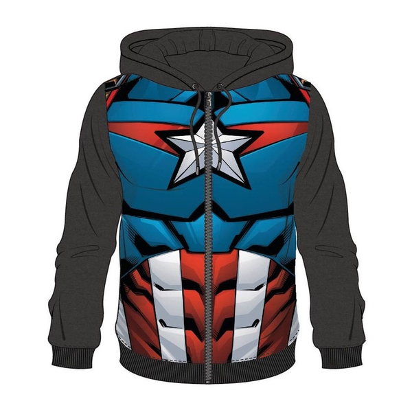 Captain America - Suit Sublimation Men's Small Full Length Zipper Hoodie - Blue