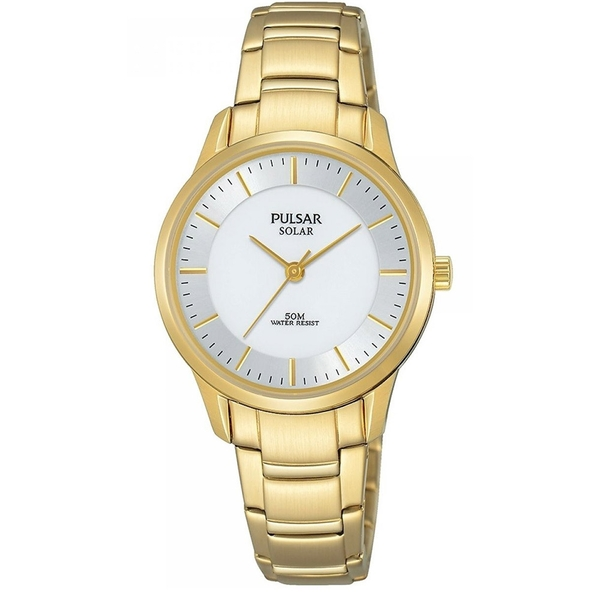 Pulsar PY5042X1 Ladies Solar Gold Bracelet  White Dial 50M Watch