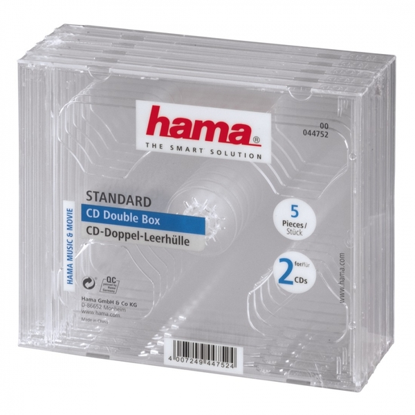 Hama Standard CD Double Jewel Case (pack of 5 - transparent)