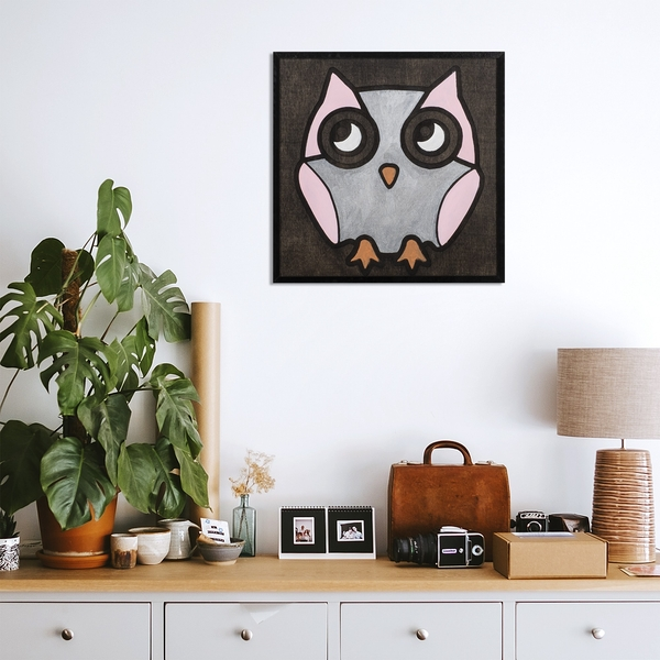 Pink Owl Black White Pink Decorative Wooden Wall Accessory