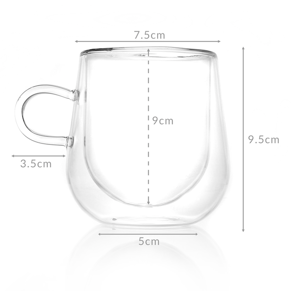 Set of 2 Double Walled Insulated 275ml Mugs | Heat Resistant Coffee Glasses M&W - Image 7