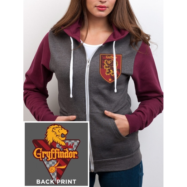 Harry Potter - House Gryffindor Women's Large Zipped Hoodie - Grey