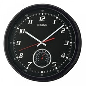 Seiko QXA696K Wall Clock with Thermometer Black