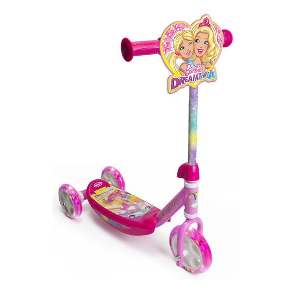 Barbie - Girls Dreamtopia Children's My First Three-Wheel Tri-Scooter with LED Wheels Girl (Pink)