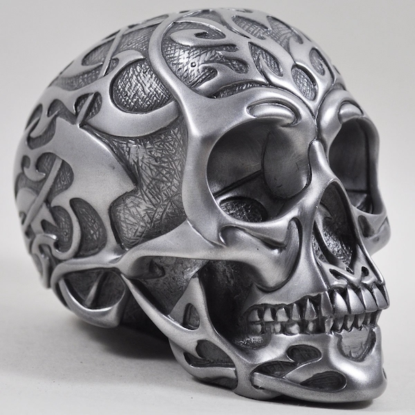 Celtic Tribal Silver Skull Design 2 (Medium)