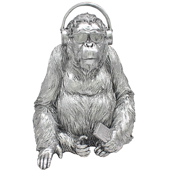 Silver Art Gorilla Music Ornament