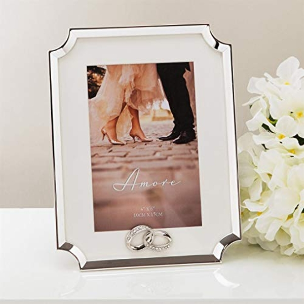 """4"""" x 6"""" - AMORE BY JULIANA? Silver Scalloped Corner Frame"""