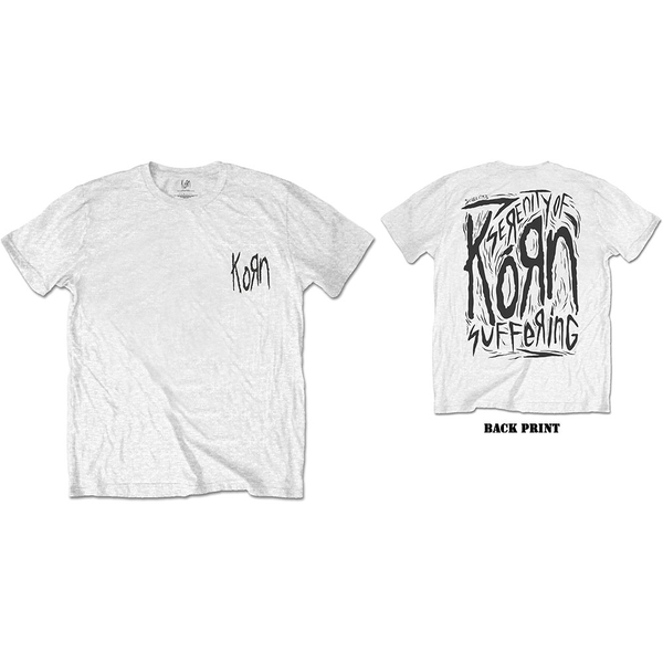 Korn - Scratched Type Men's Large T-Shirt - White