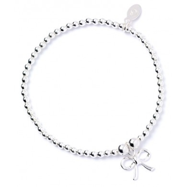 Bow Charm Sterling Silver Ball Bead Bracelet