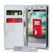 YouSave Accessories LG L90 Leather-Effect Wallet Case - White