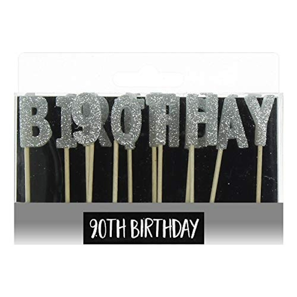 Signography Silver Letter Candles - 90th Birthday