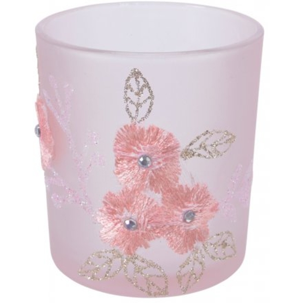 Floral Embroidery Pink Tlight Holder 10cm