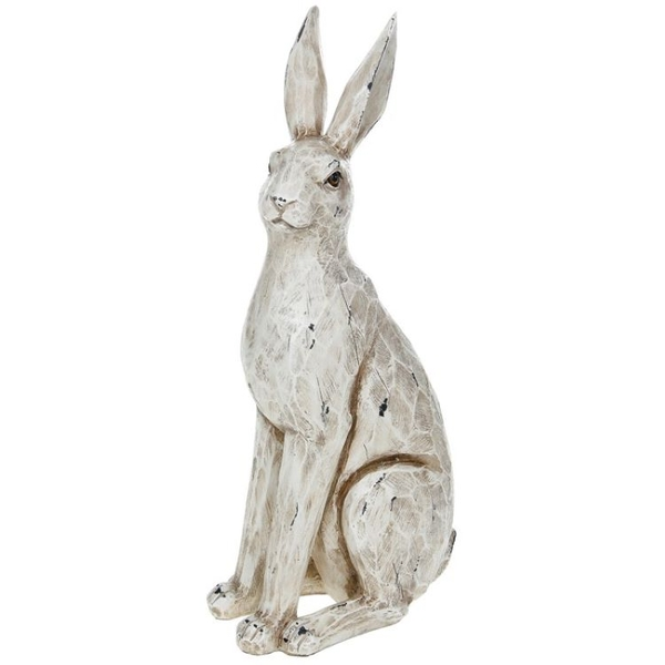 Large Country Cream Sitting Hare Ornament
