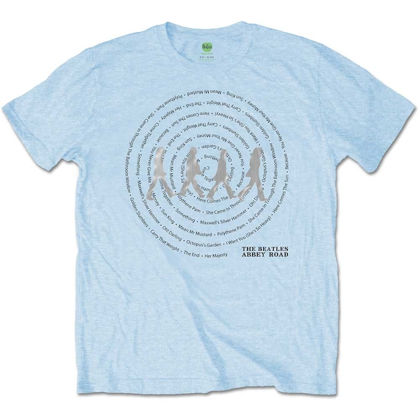 The Beatles - Abbey Road Songs Swirl Unisex Large T-Shirt - Blue