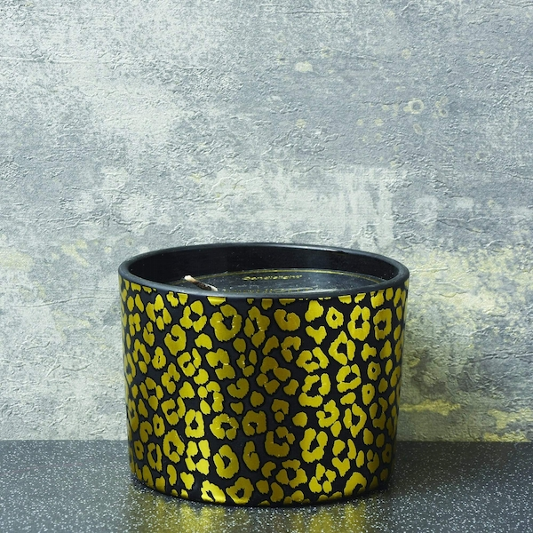 Candlelight Animal Luxe 2 Wick Wax Filled Candle Pot Midnight Pomegranate Scent