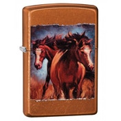 Zippo Vintage Horses Toffee Classic Windproof Lighter