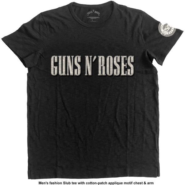 Guns N' Roses - Logo & Bullet Circle Unisex Large T-Shirt - Black