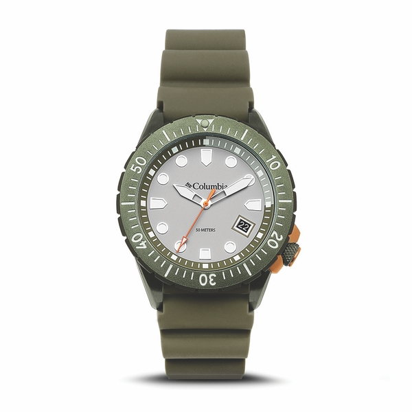 Columbia CSC04-004 Pacific Outlander Grey 3-Hand Date Olive Silicone Watch