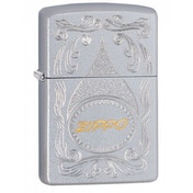 Zippo Gold Script Satin Chrome Finish Windproof Lighter