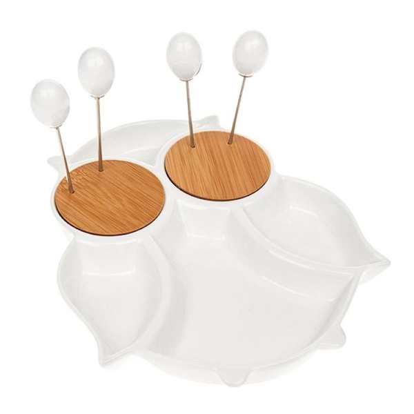 White Bamboo Owl Snack Set
