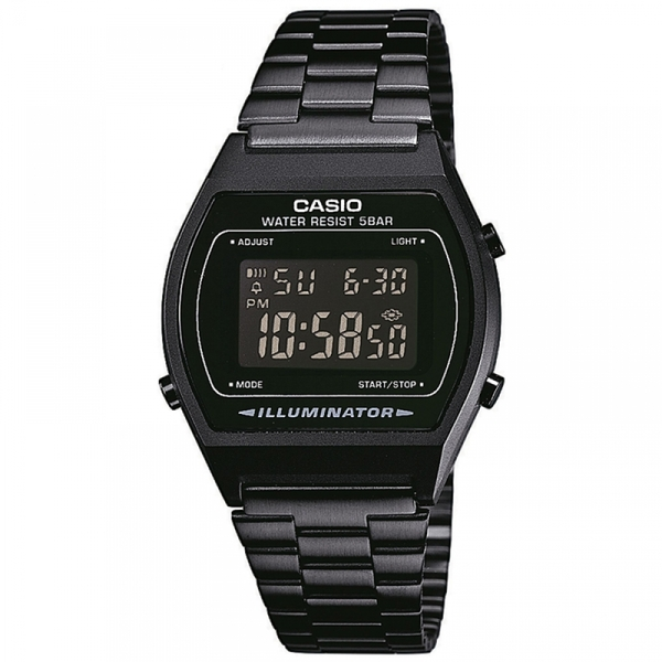 Casio B640WB-1BEF Classic Digital Watch with Stainless Steel Band Black with Black Dial