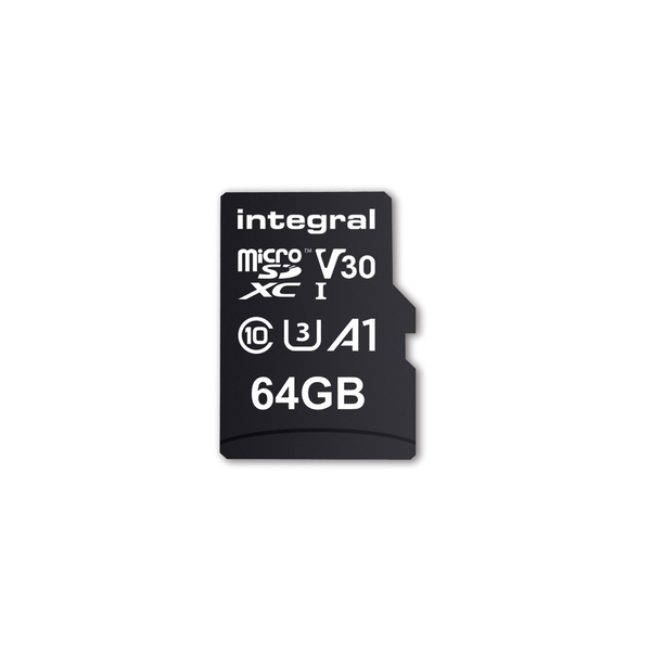 Integral 64GB Micro SD Card MicroSDXC UHS-1 U3 Cl10 V30 A1 Up To 100Mbs Read 70Mbs Write