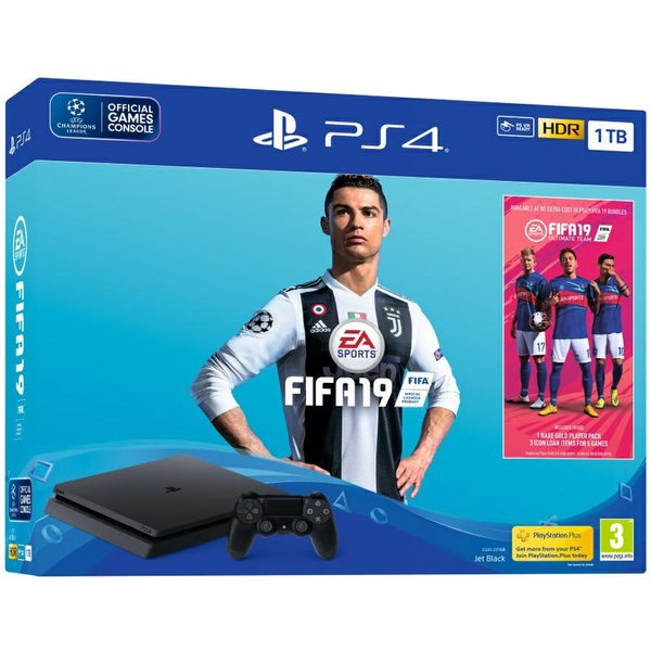 PlayStation 4 (1TB) Black PS4 Console with FIFA 19 Ultimate Team Icons and Rare Player Pack