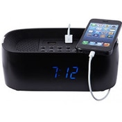 Groov-e Bluetooth Speaker with Alarm Clock Radio & USB Ports Black UK Plug