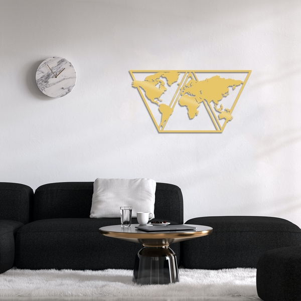 World Map Metal Decor 9 - Gold Gold Decorative Metal Wall Accessory
