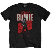 David Bowie - Red Sax Men's Large T-Shirt - Black