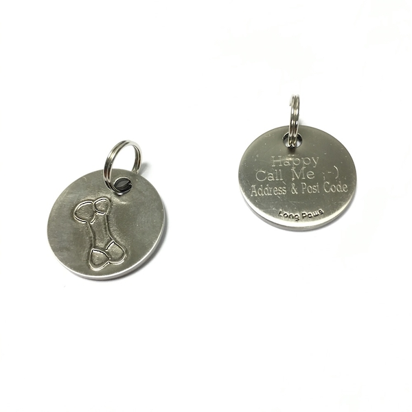 Long Paws Antique Nickel Plated Dog tag with a Bone Design